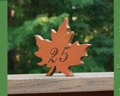 "Autumn Leaves 6"" Wedding Table Numbers, Wooden, Wedding reception, Painted, fall leaves"