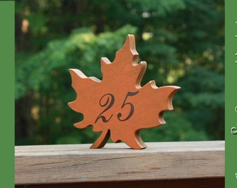 """Autumn Leaves 6"""" Wedding Table Numbers, Wooden, Wedding reception, Painted"""