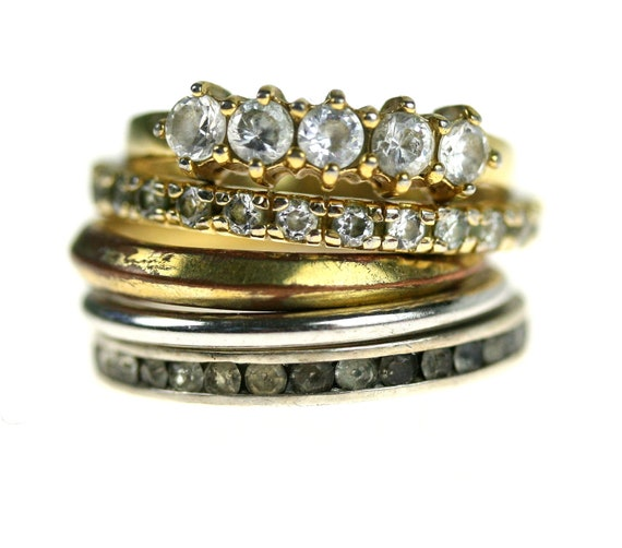 Vintage Stacking Ring Set / Gold / Silver / Rhinestone / Infinity Bands