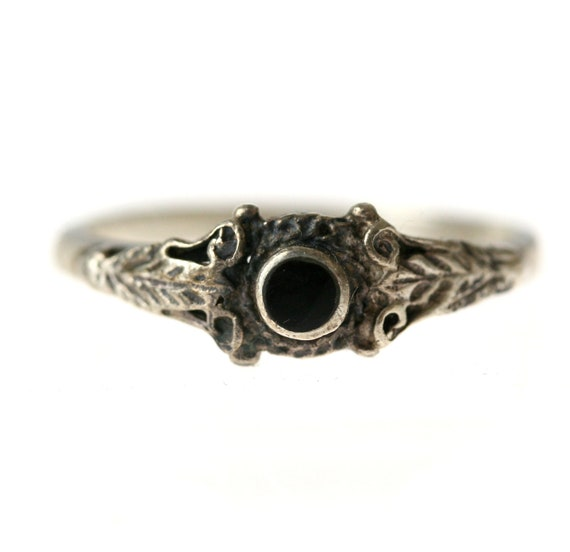 Victorian Sterling Silver and Jet Mourning Ring