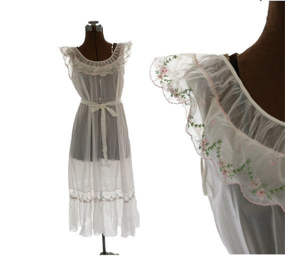 1960s 1970s Embroidered  Nylon Nightgown / Sheer / XS S M 34