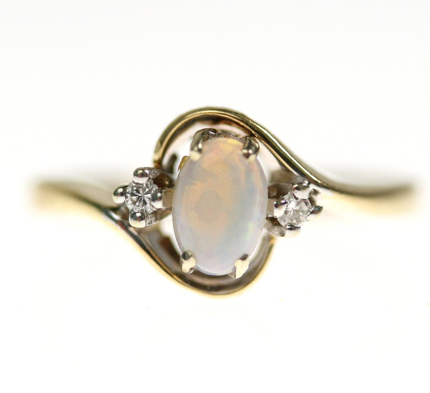 Vintage 14k Gold Opal & Diamond Engagement Ring By