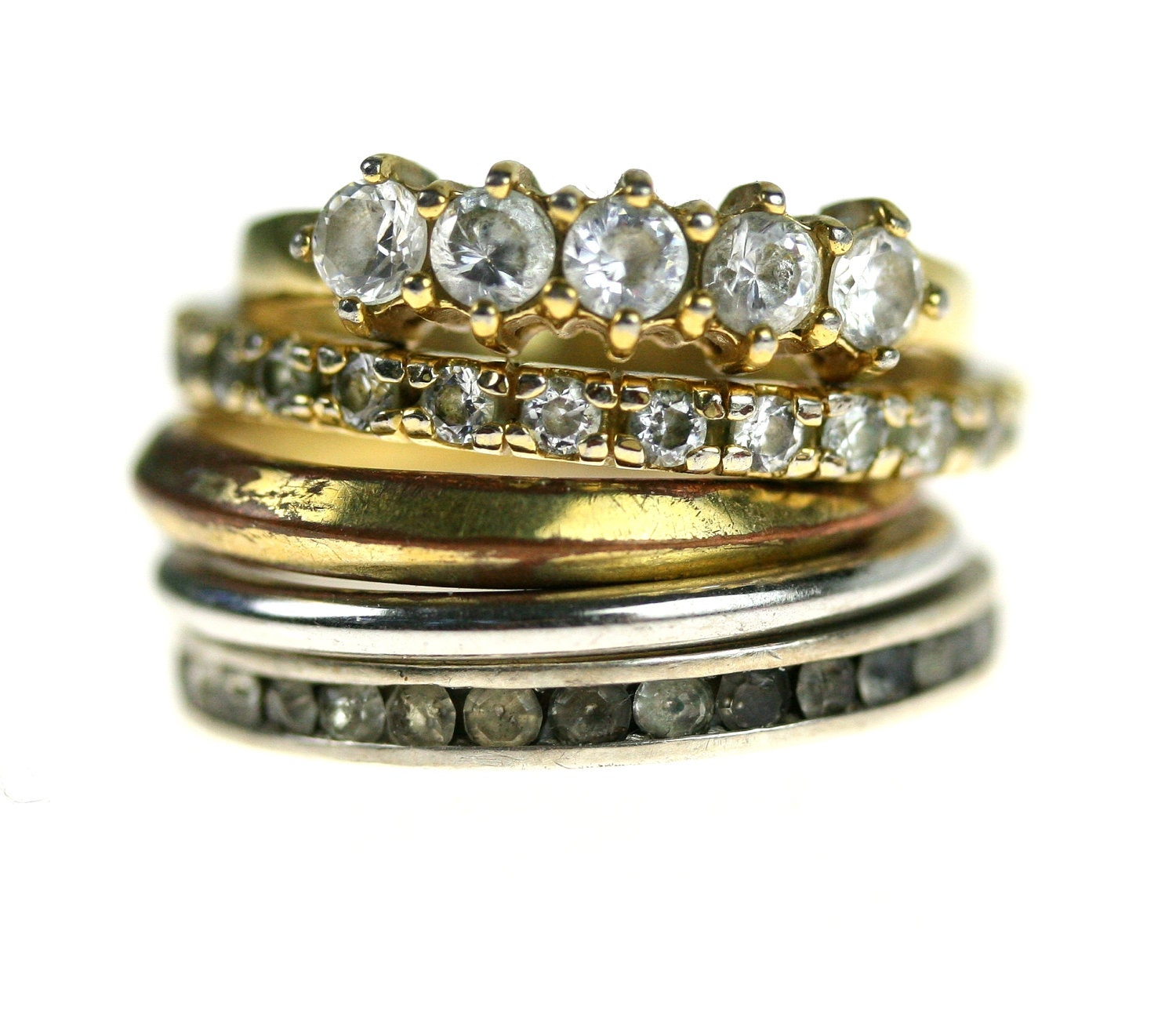 Vintage Stacking Ring Set Gold Silver Rhinestone