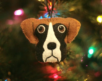 Cute Felt Boxer Dog Ornament