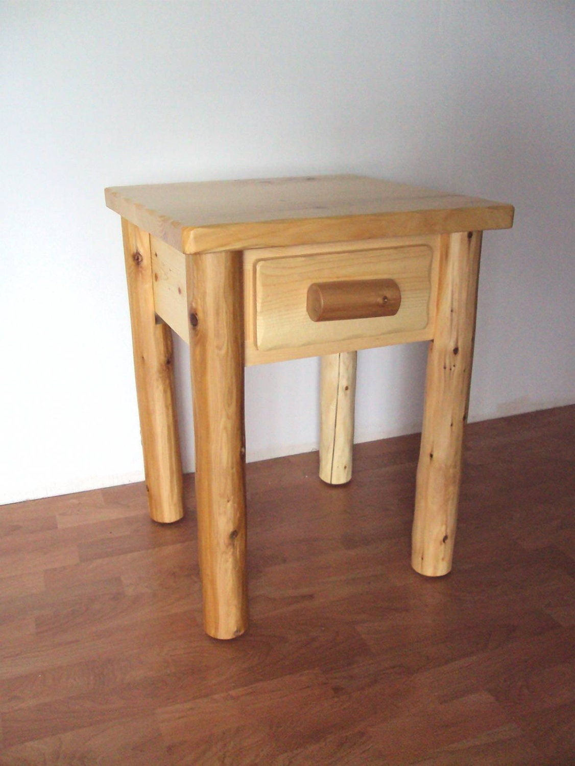 Log Side Table ~ Log drawer end table nightstand rustic furniture cedar