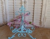 Iron Easel / Cottage Chic/ Iron Fleur De Lis / Aqua Blue / Book Stand / Shabby and Chic / Picture Frame Holder / Plate Stand