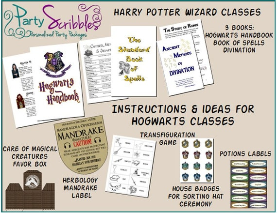 Hogwarts Classes Activities Party Package INSTANT DOWNLOAD
