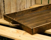 Reclaimed pallet wood  furniture, serving tray,  stained espresso, Handmade, rustic home décor