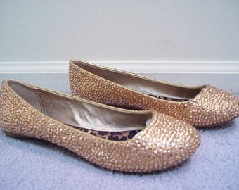 Hand Made Gold Wedding Rhinestone Flats Shoes