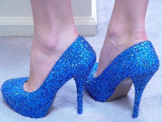 Hand Made Womens Christian Louboutin Style Blue Rhinestone High Heel Shoes