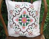 Vintage Pillow Cover, Embroidered Celtic Design Cotton, Pink and Green on White Hemstitched Linen, Orange Back, Hand Stitched