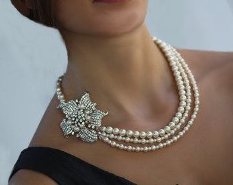 Floretta Swarovski crystal triple strand pearl necklace