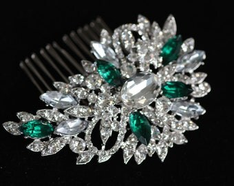 Hint of Emerald Swarovski Clear and Emerald Green Bidal Hair Comb or Brooch
