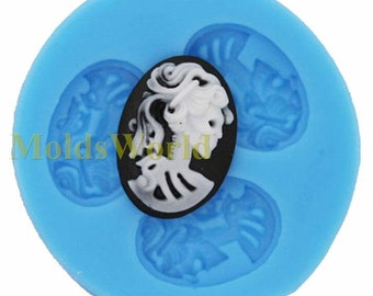 A223 Silicone Mold Lolita Skeleton 3 Cavities Flexible Mould for Polymer Clay Resin Candy Fimo Super Sculpey Crafts Jewelry
