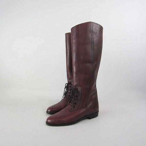 RESERVED / vintage boots / equestrian / flat / burgundy leather / lace up / forever fall