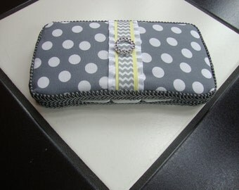 Boutique Diaper Wipes Travel Case Yellow Gray Grey Polka Dot Chevron