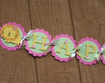 Deluxe Girl Jungle Safari Animal Happy Birthday Banner Pink and Lime Green