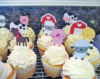12 Farm Animal Cupcake Toppers