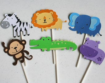 12 Assorted Jungle Animal Cupcake Toppers-You choose you own