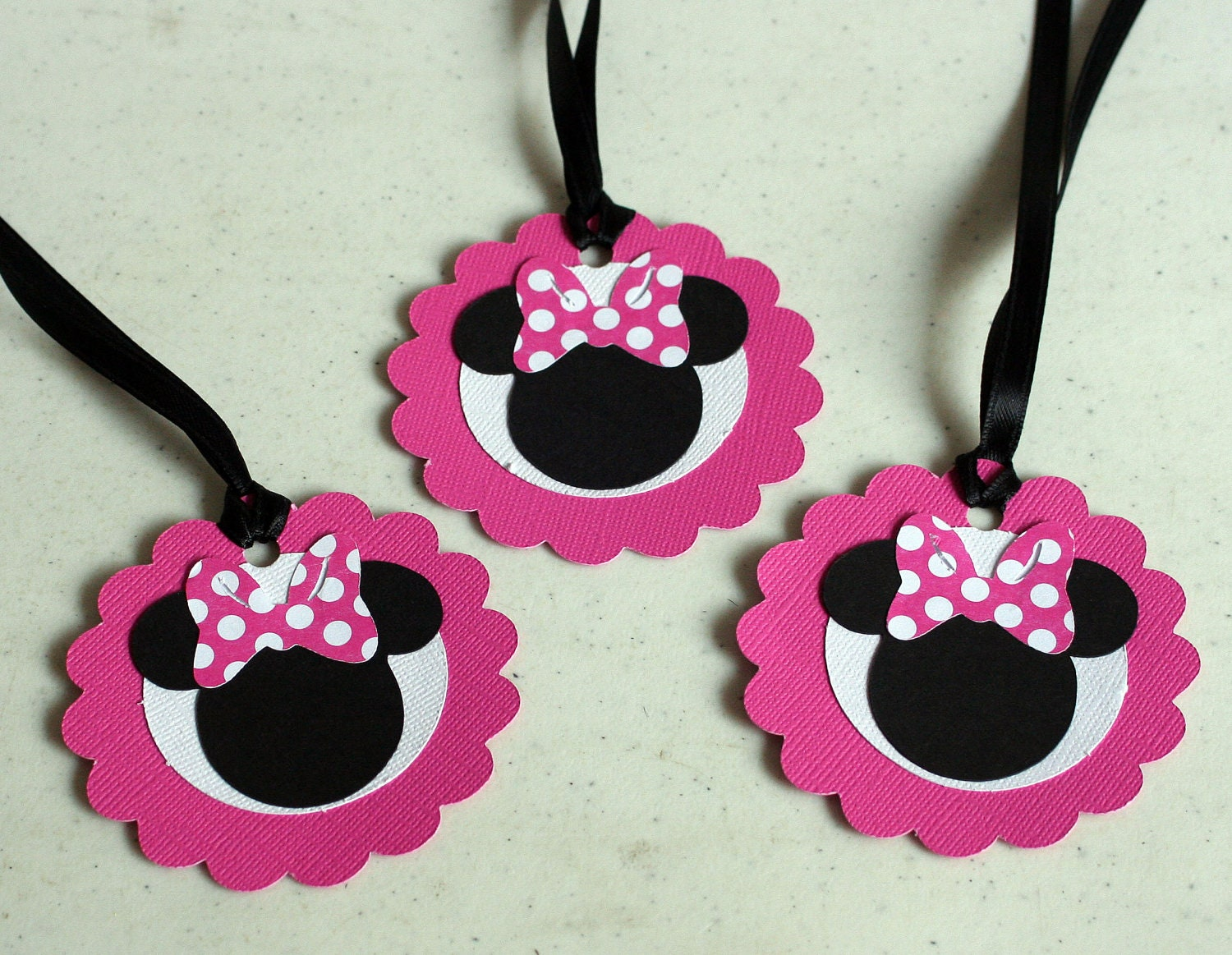 12 minnie mouse favor tags treat bag tagsbirthday party baby for Baby minnie mouse decoration ideas