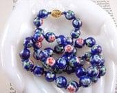 Vintage Cloisonne Necklace Cobalt Blue Enamel Bead Necklace
