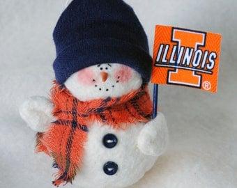 Illinois Illini Snowman Ornament
