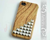 Wooden Iphone Case, Antique Silver Studded Iphone 4 case, Iphone 4s Case, iphone case Cover, Hard case