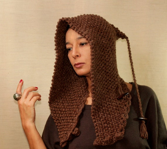 Knit Hat Ear Flap Beanie Rustic Cocoa Brown Elf Pixie Hat Knit Hood Chunky Hooded Cowl Scarf Winter Accessories