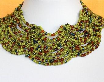 Ethnic Beaded Multi Color Necklace Choker Collar. Chunky Jewelry. Masai Beads. Cleopatra Style. Handmade. DB04 MapenziGems