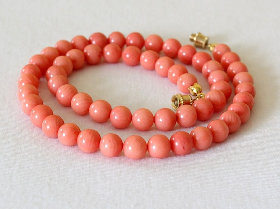 """Coral Necklace. 7mm Coral Beads. Pink Salmon Color. 16"""" Length. MapenziGems"""