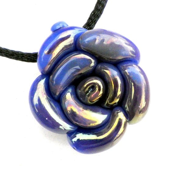 Rose pendant Glass Flower Rose Necklace Purple Rose Glass Rose Jewelry