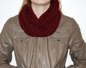 Infinity Scarf - Red/Burgundy Knit with Pattern