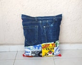 """Jeans Pillow Cover, Recycled Denim Jeans, 'Life is a Beach' Printed Fabric,  appr. 15"""" square"""
