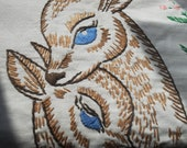 Amazing Vintage Embroidered Baby and Mommy Deer Table Runner - So Rare and Beautiful...