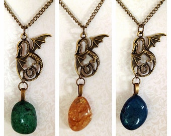 LAST ONE- Dragon & Egg Necklace.  Vintage Style Brass. Antique Gold. Mystical. Magic. Fantasy. Natural Stone Jewelry. Gift