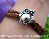 Bracelet-antique silver ow bracelet,Pandora beads bracelet,braided leather bracelet---ST086