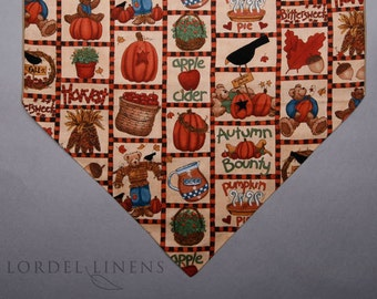 "Fall Country Table Runner, Harvest Table Runner, Pumpkins and Apple Cider, 36"" Table Runner"