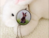 Cute Little Bunny Rabbit Antique Silver Pendant in Cottage Chic Style