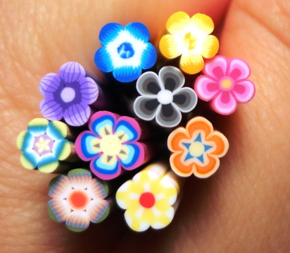 10 pcs - Assorted Flower Mix 3 Collection (2.5cm long) - Nail Decoration Scrapbooking Flower Fimo Cane - Polymer Clay Cane