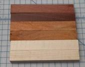 Cocobolo, Padauk, Maple, Wood Pen Blanks -- Set of 6