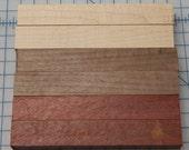 Maple, Walnut, Bloodwood, Wood Pen Blanks -- Set of 6