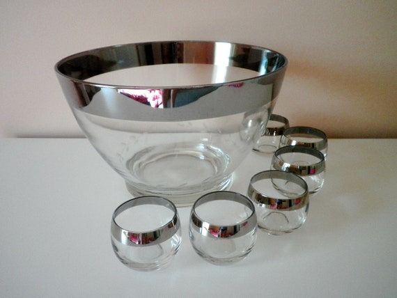 Vintage Dorothy Thorpe Style Silver Rim Punch Bowl and Roly Poly Glasses Mad Men Style