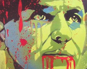 Frank Sinatra Zombie Stencil Art Print