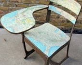 30% off SALE - Vintage School Desk: covered with a National Geographic Map