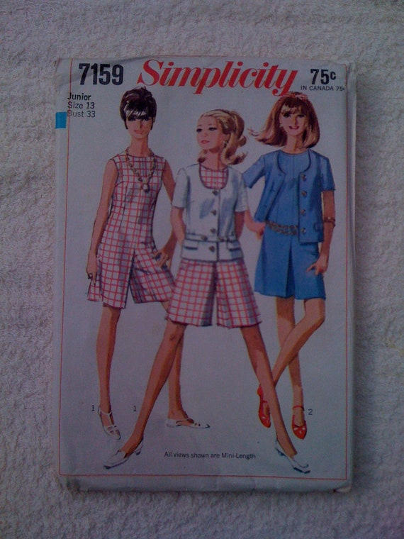 Simplicity 60s Sewing Pattern 7159 Juniors Culotte Dress and Jacket Size 13 Sale