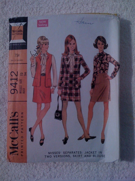 McCalls 60s Sewing Pattern 9412 Misses Jacket, Skirt and Blouse Size 12 Sale