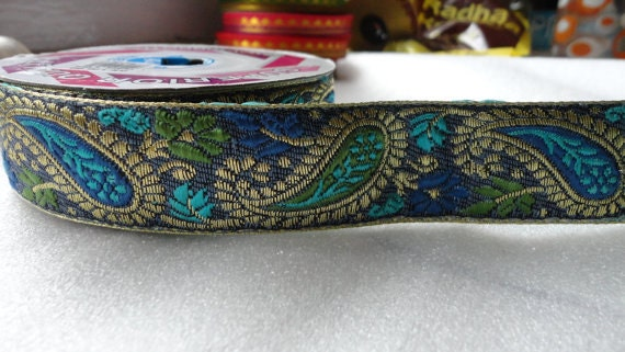 Wholesale at Discounted Price- 10 Yards Beautiful Paisley silk border in beige, sky blue, turquoise and green colors