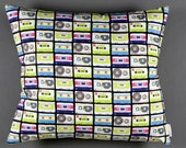 Design pillow with tape pattern, eighties,in multicolore,neon