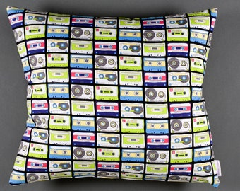 Cushion pillow with tape pattern, eighties,in multicolore,neon,vintage style