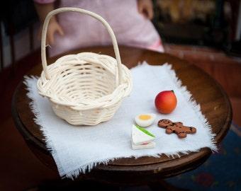 Victorian Edwardian Lunch Accessories for American Girl Doll Mini Samantha, Barbie, BJD basket, napkin, peach, sandwich, egg, cookie